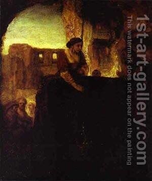 Christ And The Woman Of Samaria 1659 by Harmenszoon van Rijn Rembrandt - Reproduction Oil Painting