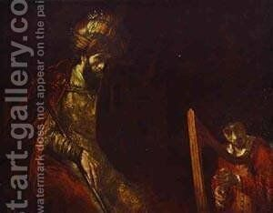 David Playing The Harp Before Saul 1656 by Harmenszoon van Rijn Rembrandt - Reproduction Oil Painting