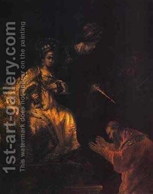 Haman Begging Esther For Mercy 1655 by Harmenszoon van Rijn Rembrandt - Reproduction Oil Painting