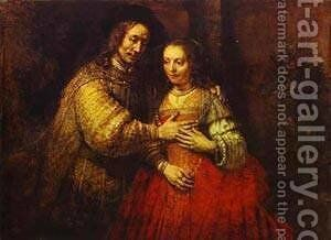 Isaac And Rebecca (The Jewish Bride) 1666 by Harmenszoon van Rijn Rembrandt - Reproduction Oil Painting