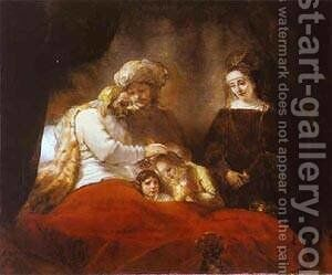 Jacob Blessing The Sons Of Joseph 1656 by Harmenszoon van Rijn Rembrandt - Reproduction Oil Painting