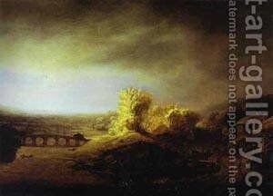 Landscape With A Long Arched Bridge Late 1630s by Harmenszoon van Rijn Rembrandt - Reproduction Oil Painting