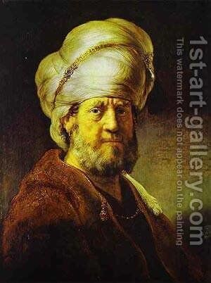 Portrait Of A Man In An Oriental Costume 1635 by Harmenszoon van Rijn Rembrandt - Reproduction Oil Painting
