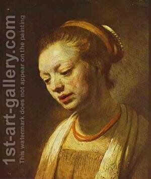 Portrait Of A Young Girl 1645 by Harmenszoon van Rijn Rembrandt - Reproduction Oil Painting
