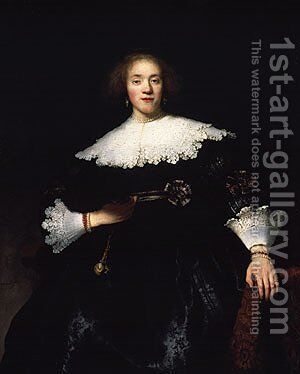 Portrait of a Young Woman with a Fan 1633 by Harmenszoon van Rijn Rembrandt - Reproduction Oil Painting