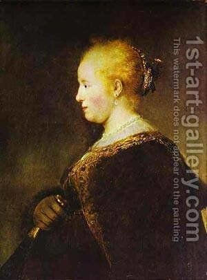 Portrait Of A Young Woman With The Fan 1632 by Harmenszoon van Rijn Rembrandt - Reproduction Oil Painting