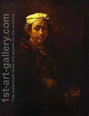 Self Portrait At The Easel 1660 by Harmenszoon van Rijn Rembrandt - Reproduction Oil Painting