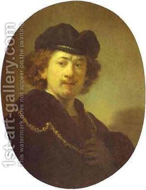 Self Portrait With A Gold Chain 1633 by Harmenszoon van Rijn Rembrandt - Reproduction Oil Painting