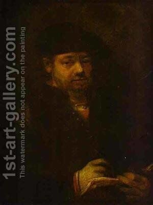 Self Portrait With A Sketch Book 1657 by Harmenszoon van Rijn Rembrandt - Reproduction Oil Painting