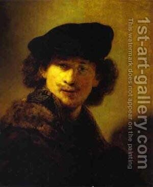 Self Portrait With Velvet Beret And Furred Mantel 1634 by Harmenszoon van Rijn Rembrandt - Reproduction Oil Painting
