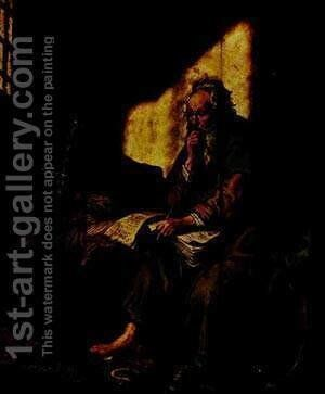 St Paul In Prison 1627 by Harmenszoon van Rijn Rembrandt - Reproduction Oil Painting