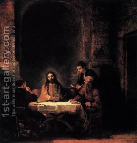 Supper at Emmaus 1648 by Harmenszoon van Rijn Rembrandt - Reproduction Oil Painting