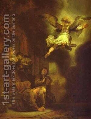The Archangel Leaving The Family Of Tobias 1637 by Harmenszoon van Rijn Rembrandt - Reproduction Oil Painting