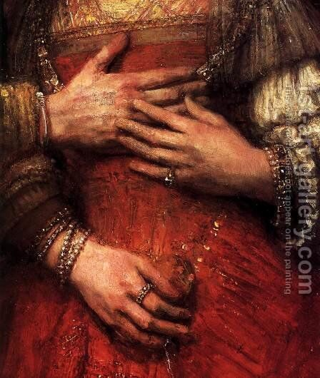 The Jewish Bride (detail) 1665 by Harmenszoon van Rijn Rembrandt - Reproduction Oil Painting