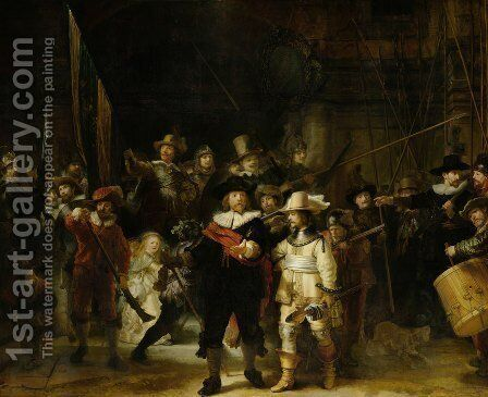 The Night Watch (The Militia Company Of Captain Frans Banning Cocq And Of Lieutenant Willem Van Ruytenburgh) 1642 by Harmenszoon van Rijn Rembrandt - Reproduction Oil Painting