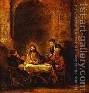 The Supper At Emmaus 1648 by Harmenszoon van Rijn Rembrandt - Reproduction Oil Painting