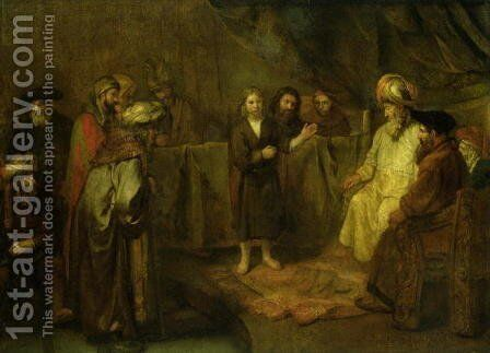 The Twelve Year Old Jesus in front of the Scribes 1655 by Harmenszoon van Rijn Rembrandt - Reproduction Oil Painting