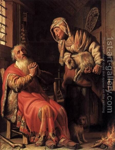 Tobit Accusing Anna of Stealing the Kid 1626 by Harmenszoon van Rijn Rembrandt - Reproduction Oil Painting