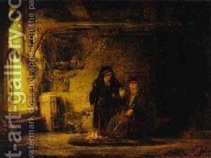 Tobits Wife With A Goat 1645 by Harmenszoon van Rijn Rembrandt - Reproduction Oil Painting