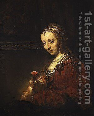 Woman with a Pink early 1660s by Harmenszoon van Rijn Rembrandt - Reproduction Oil Painting
