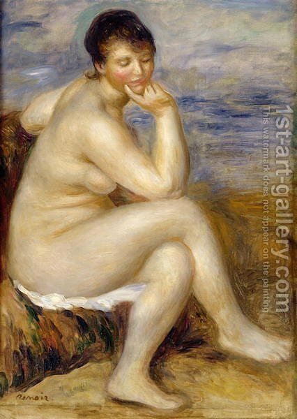 Bather Seated on a Rock 1882 by Pierre Auguste Renoir - Reproduction Oil Painting
