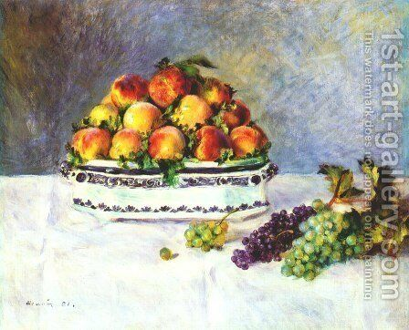 Still Life with Peaches and Grapes 1881 by Pierre Auguste Renoir - Reproduction Oil Painting