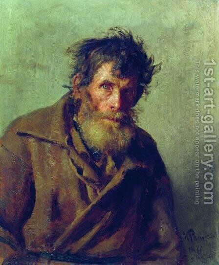 A Shy Peasant 1877 by Ilya Efimovich Efimovich Repin - Reproduction Oil Painting