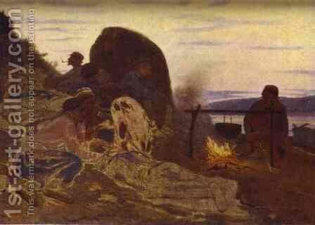 Barge Haulers By Campfire 1870 by Ilya Efimovich Efimovich Repin - Reproduction Oil Painting