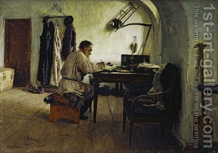 Leo Tolstoy In His Study 1891 by Ilya Efimovich Efimovich Repin - Reproduction Oil Painting