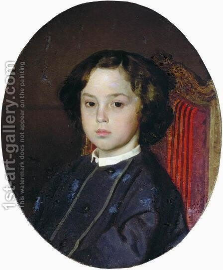 Portrait Of A Boy 1867 by Ilya Efimovich Efimovich Repin - Reproduction Oil Painting