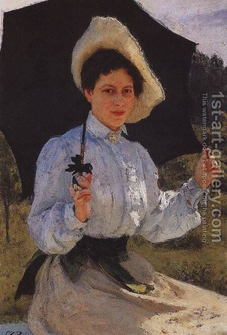 Portrait Of Nadezhda Repina The Artists Daughter 1900 by Ilya Efimovich Efimovich Repin - Reproduction Oil Painting