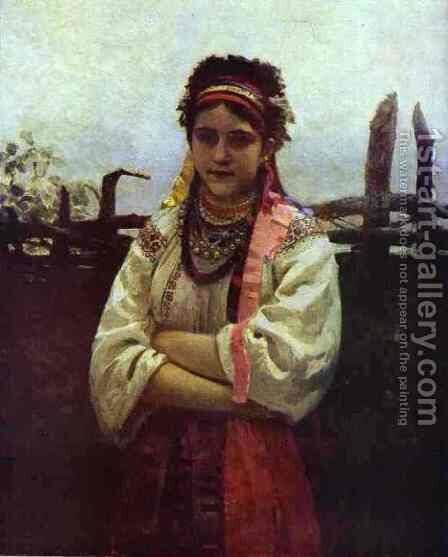 Ukranian Girl By A Fence 1876 by Ilya Efimovich Efimovich Repin - Reproduction Oil Painting