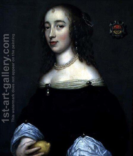 Portrait of a Lady possibly Margaret Lemon 1665 by Adriaen Hanneman - Reproduction Oil Painting