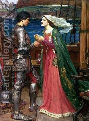 Tristan And Isolde Sharing The Potion by Alexei Alexeivich Harlamoff - Reproduction Oil Painting