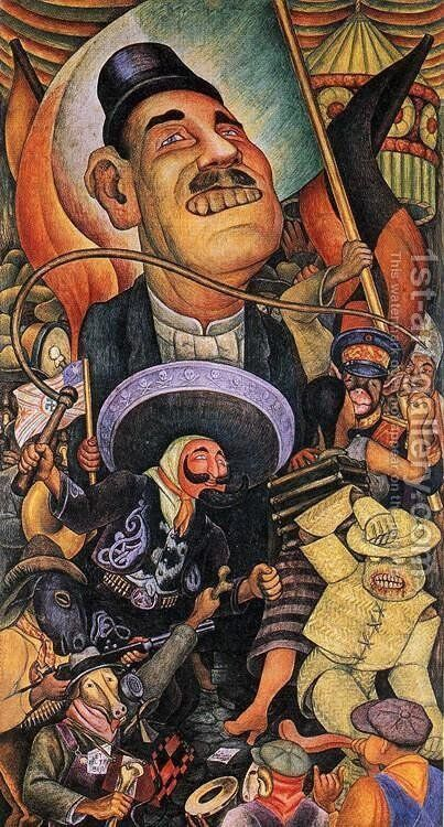 Carnival of Mexican Life Dictatorship 1936 by Diego Rivera - Reproduction Oil Painting