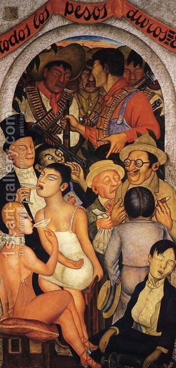Night of the Rich 1928 by Diego Rivera - Reproduction Oil Painting