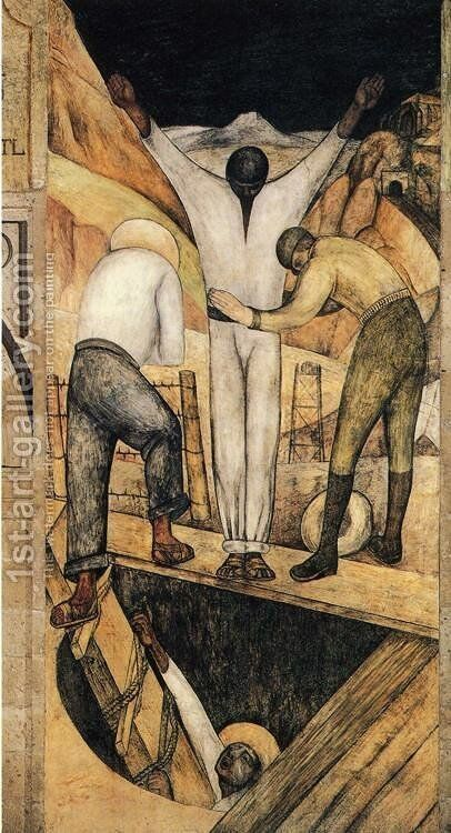Political Vision of the Mexican People Exit from the Mine 1923 by Diego Rivera - Reproduction Oil Painting