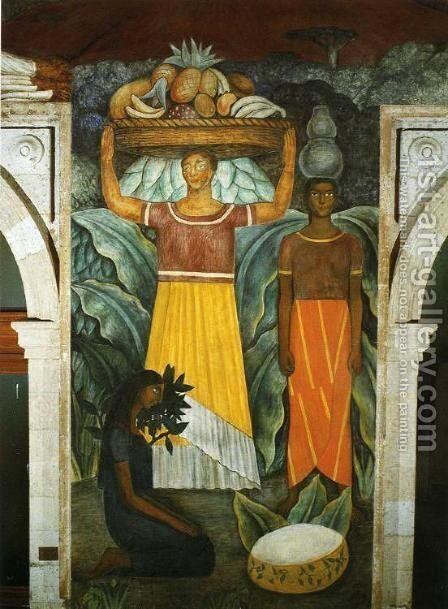 Political Vision of the Mexican People Tehuana Women (Mujeres tehuanas) 1923 Fresco north wall Ministry of Public Education Mexico City Mexico by Diego Rivera - Reproduction Oil Painting