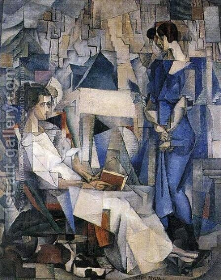 Portrait of Two Women 1914 by Diego Rivera - Reproduction Oil Painting