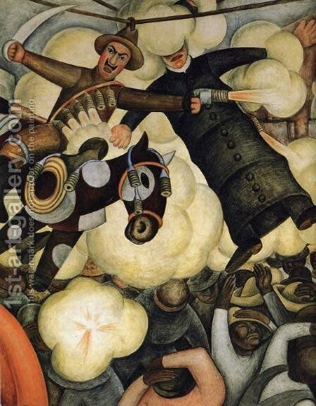 The Burning of the Judases Detail 1923 to 24 by Diego Rivera - Reproduction Oil Painting