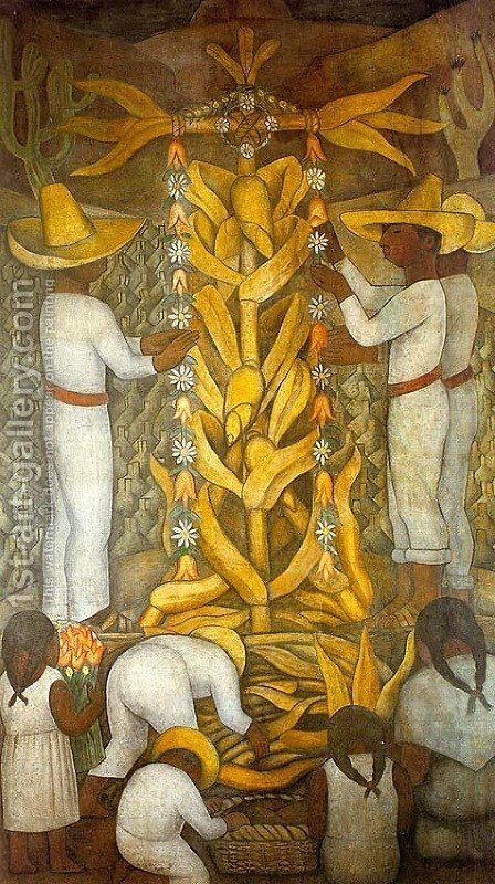 THe Corn Festival 2 by Diego Rivera - Reproduction Oil Painting