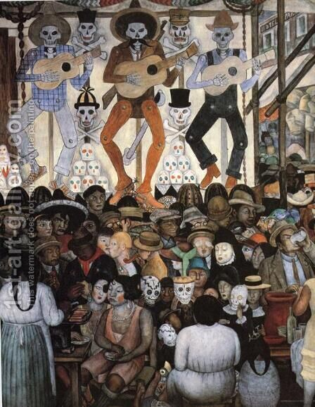 The Day of the Dead(Dark Version) 1924 by Diego Rivera - Reproduction Oil Painting