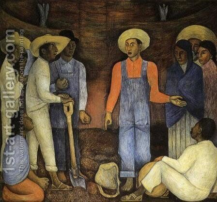 The Organization of the Agrarian Movement 1926 by Diego Rivera - Reproduction Oil Painting