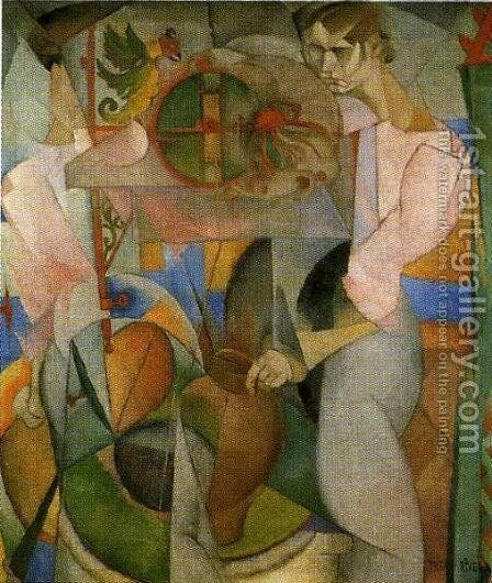 Woman at a Well (reverse of Zapatista Landscape La mujer del pozo) 1913 by Diego Rivera - Reproduction Oil Painting