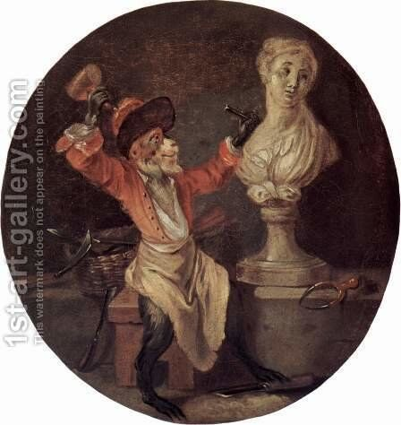 The Monkey Sculptor 1710 by Jean-Antoine Watteau - Reproduction Oil Painting