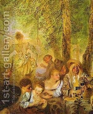The Shepherds Detail 1 1717-19 by Jean-Antoine Watteau - Reproduction Oil Painting