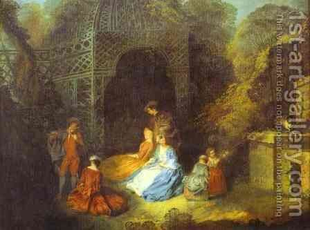 Watteau Or His Circle The Flautist by Jean-Antoine Watteau - Reproduction Oil Painting