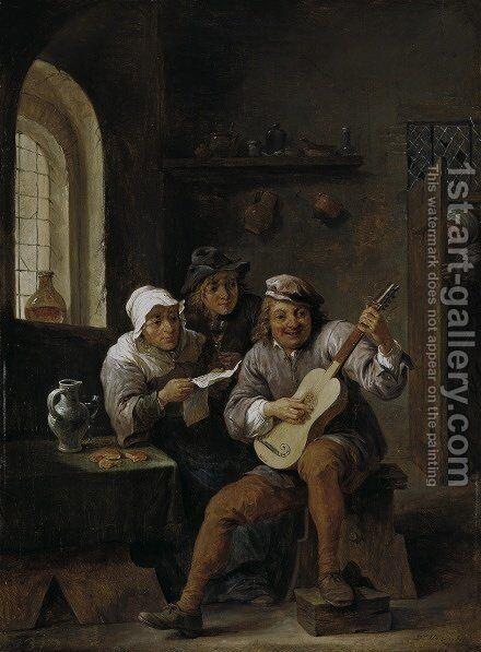Peasants making music c 1650 by David The Elder Teniers - Reproduction Oil Painting