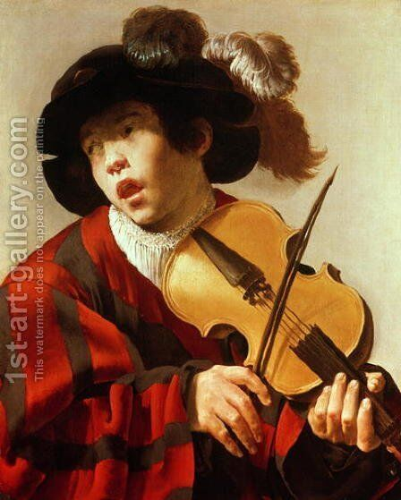 Boy Playing Stringed Instrument and Singing 1627 by Hendrick Terbrugghen - Reproduction Oil Painting