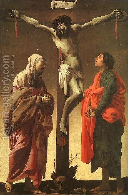The Crucifixion with the Virgin and Saint John ca 1625 by Hendrick Terbrugghen - Reproduction Oil Painting